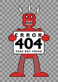 Fel 404: Bruten Retro robot vektor illustrationer