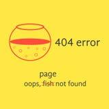 fel 404 med det röda tomma akvariet royaltyfri illustrationer