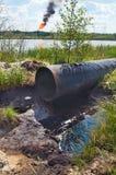 Fel på oljepipelinen Fotografering för Bildbyråer