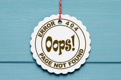 fel 404 på pappers- etikett Fotografering för Bildbyråer
