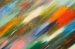 Felaktiga mörka sudd av vattenfärgmålarfärg färgar på kanfas Arkivfoto