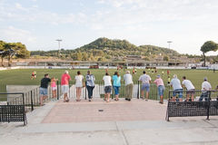 Felanitx and Mallorca B game. FELANITX, MALLORCA, BALEARIC ISLANDS, SPAIN - JULY 27, 2016: Friendly football game between Felanitx and Mallorca B that resulted Stock Photos
