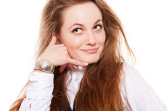 felanmälansgest som gör mig smileykvinnan Royaltyfri Foto