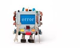 Felbegreppsaffisch Robotic dator för faktotum med handskiftnyckelplattång på vit bakgrund Fel för textmeddelande på blått arkivbilder