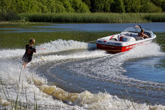 FELBRIDGE, SURREY/UK - MAY 29 : Water skiing at Wiremill Lake  n Royalty Free Stock Photo