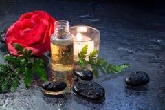 Felce, candela, petrolio e primo piano delle pietre del nero immagini stock libere da diritti