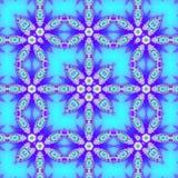 Feld als quadratisches geometrisches Muster, Spitzen- dekorative Arabeske im Neonblau und Indigo stock abbildung