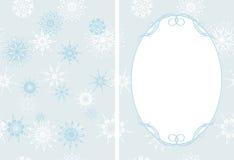 Feld auf dem dekorativen Hintergrund mit Schneeflocken Lizenzfreie Stockfotografie