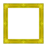 Feld das hölzerne geschnitzte Muster des Bilderrahmens Gold, dasauf einem whi lokalisiert wird Lizenzfreie Stockfotos