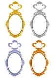 Feld den ovalen Kreis des Spiegels 4 Farb, derauf weißem Hintergrund lokalisiert wird Stockfoto