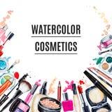 Feld der dekorativen Kosmetik des verschiedenen Aquarells Kosmetische Produkte lizenzfreie abbildung