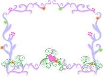 Feld der hellpurpurnen Strudel und der Blumen stock abbildung