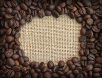 Feld der Kaffeebohnen auf Segeltuchhintergrund Stockfoto