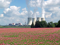 Feld der Mohnblume und des Atomkraftwerks, Temelin Lizenzfreie Stockbilder