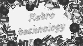 Feld der Retro- Elektronik der alten Weinlese von Fernsehen, Kassettenrecorder 70 ` s, 80 ` s, 90 ` s mit der Aufschrift der Retr stock abbildung