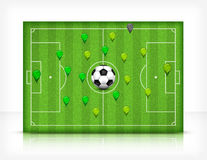 Feld des Fußballs (Fußball) mit Kugel Stockbild