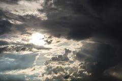 Feld des grünen Grases gegen einen blauen Himmel mit wispy weißen Wolken Drastischer Himmel mit Sonnen- und Sonnenlichtabflussrin Stockfoto