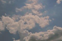 Feld des grünen Grases gegen einen blauen Himmel mit wispy weißen Wolken Flaumige weiche Wolken im Himmel getont lizenzfreie stockfotografie