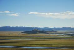 Feld des grünen Grases und Fluss, Tibet, Porzellan Lizenzfreie Stockfotos