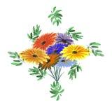 Feld des Grüns verlässt in Form einer Raute mit einem hellen Blumenstrauß auf einem weißen Hintergrund watercolor Lizenzfreie Stockbilder