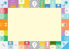 Feld des MonopolBrettspiels, lustiger Rahmen für Kinder Stockfoto