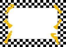 Feld des SchachBrettspiels und der Schachfiguren, lustiger Rahmen für Kinder Lizenzfreies Stockbild