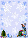 Feld des Weihnachten background.snowman. Lizenzfreie Stockfotos