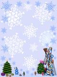 Feld des Weihnachten background.snowman. lizenzfreie abbildung