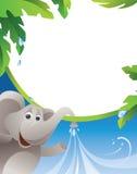 Feld - Elefant- und Wasserstrom Lizenzfreies Stockfoto