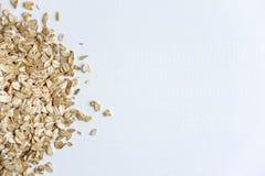Feld für eine Fahne mit rohen Flocken des Hafermehls Hafermehl und gesunde Nahrung Diät und Vitamine im Hafermehl stockfoto