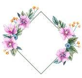 Feld für eine Hochzeit mit Aquarellblumen lizenzfreie abbildung