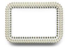 Feld für Foto mit den Perlen lokalisiert auf weißem Hintergrund Stockbild
