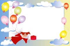 Feld: Fee mit Geschenk und Ballonen. Stockbild