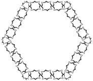 Feld in Form von Hexagon von den dekorativen Elementen der schwarzen Farbe Stockbild