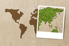 Feld Foto eco Weltkarte auf hölzerner Beschaffenheit Stockfotografie