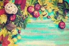 Feld gemacht vom Herbstlaub, Lampe, Äpfel Lizenzfreies Stockfoto