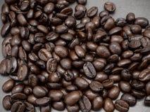 Feld-Kaffeebohnen auf dunklem Hintergrund lizenzfreie stockfotos