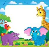 Feld mit afrikanischer Fauna 1 Stockfotos