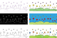 Feld mit Blumen Stockfotos