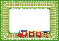 Feld mit den Kindern, die Zug reiten Stockfoto