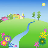 Feld mit einem Fluss Lizenzfreies Stockbild