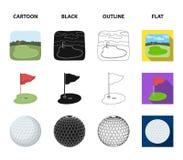 Feld mit einem Loch und einer Flagge, ein Golfball, ein Golfspieler, ein elektrisches Golfmobil Gesetzte Sammlungsikonen des Golf Stockbilder