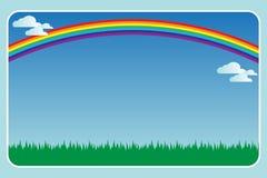 Feld mit einem Regenbogen Lizenzfreies Stockfoto
