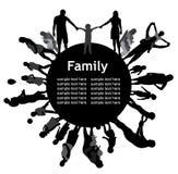 Feld mit Familienschattenbildern. Lizenzfreie Stockfotos
