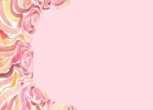 Feld mit gemalten roten Blumen des Aquarells auf einem rosa Hintergrund Stockfotos