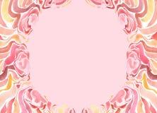 Feld mit gemalten roten Blumen des Aquarells auf einem rosa Hintergrund Stockbild