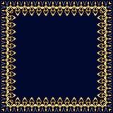 Feld mit Goldmuster auf einem blauen Hintergrund Stockbild