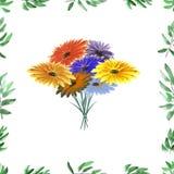 Feld mit grünem Laub und heller Blumenstrauß auf einem weißen Hintergrund Nahtloses Muster des Aquarells Stockbild