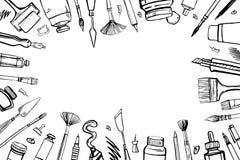Feld mit Handgezogenen Skizzenvektor-Künstlermaterialien Stilisierte Schwarzweiss-Illustration mit Malerei und Ziehwerkzeugen pin vektor abbildung
