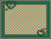 Feld mit Herzen und Papierhintergrund Stockfoto
